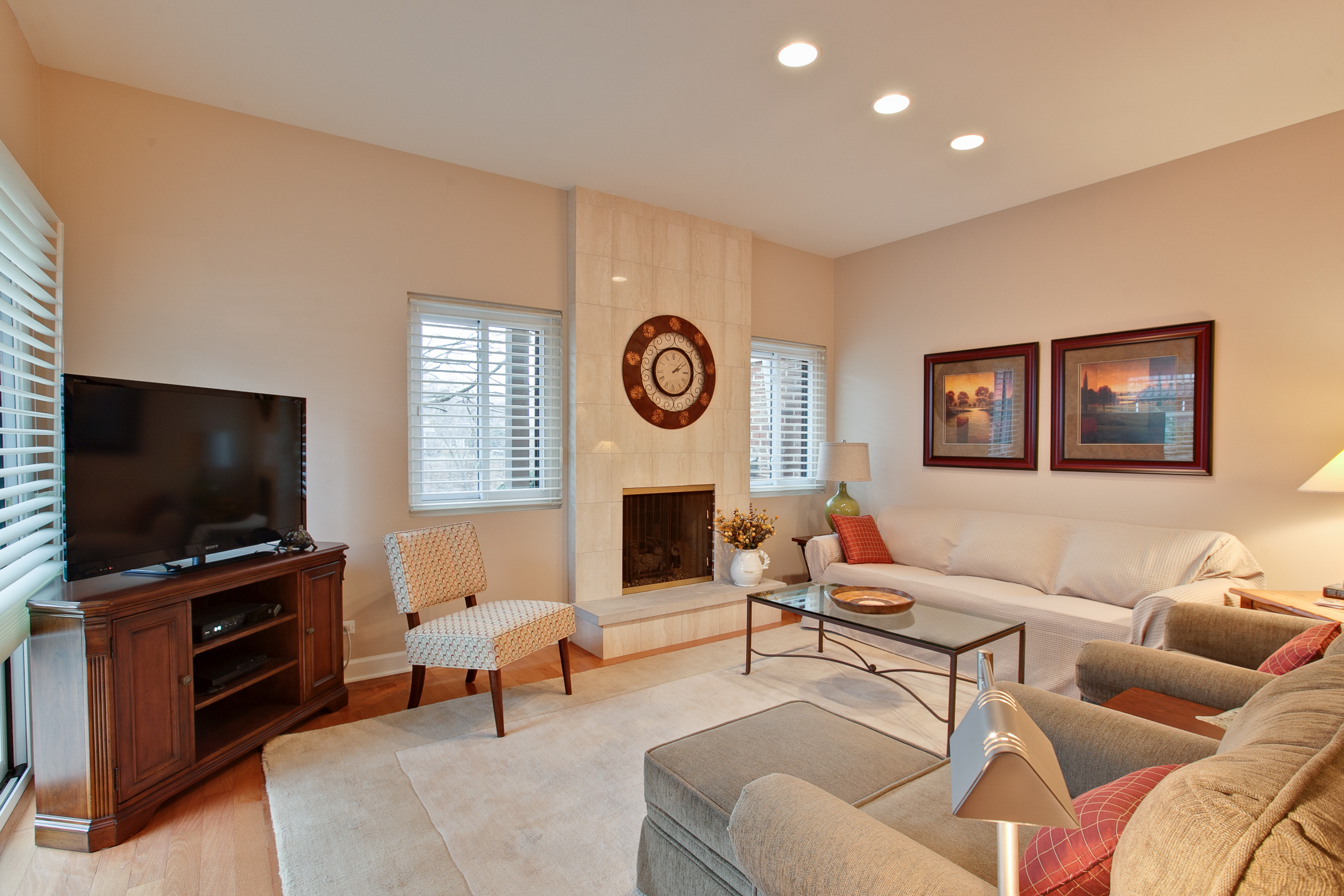 Awesome ... Living Room With Its 9u0027 Foot Ceiling, A Second Fireplace With Marble  Surround And Raised Hearth, Sliders Leading The Private Patio And A View Of  The ...